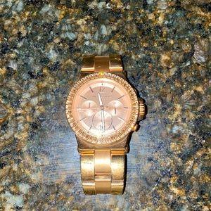 MICHAEL KORS Rose Gold-tone Baguette Bezel Chronograph Ladies Watch 43 mm